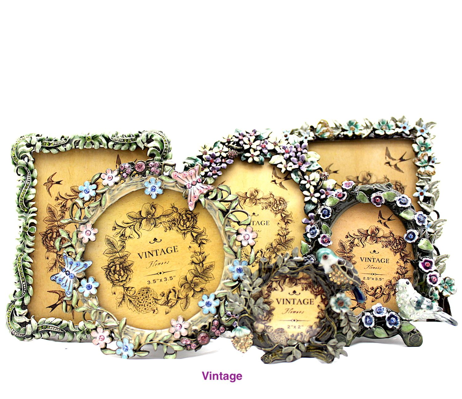 Vintage photo frames, ornate, embellished with crystals